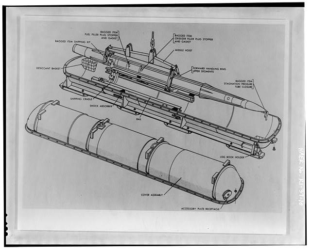 . Photocopy of drawing of missile shipping container from Procedures and Drills for the NIKE Ajax System, Department of the Army Field Manual, FM-44-80 from Institute for Military History, Carlisle Barracks, Carlisle, PA 1956.