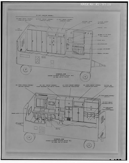 Photocopy of drawing of battery control trailer from 'Procedures and Drills for the NIKE Ajax System,' Department of the Army Field Manual, FM-44-80 from Institute for Military History, Carlisle Barracks, Carlisle, PA, 1956