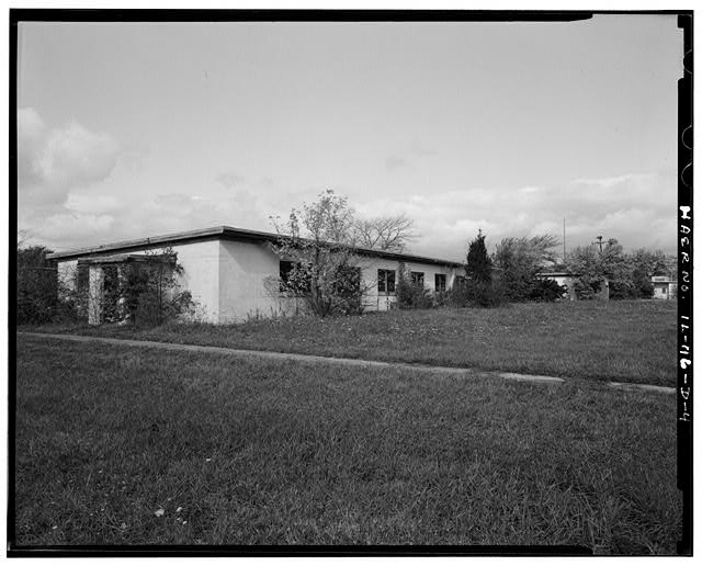 BARRACKS, LONGER BUILDING, FRONT AND LEFT SIDES, LOOKING NORTHWEST