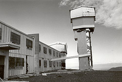 Looking northwest at the Battery Control Building and the Target Ranging Radar