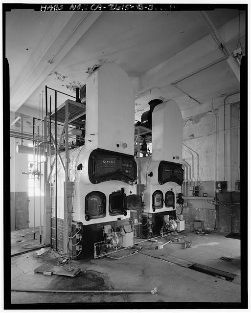 Mill Valley Early Warning Radar INTERIOR VIEW OF CENTRAL HEATING STATION, BUILDING 102, SHOWING FURNACES, LOOKING SOUTH.