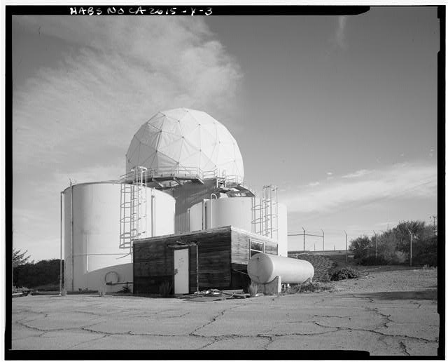 Mill Valley Early Warning Radar Station EXTERIOR VIEW OF THE NORTHEAST RADAR DOME COMPLEX, STRUCTURE 411, LOOKING NORTH.