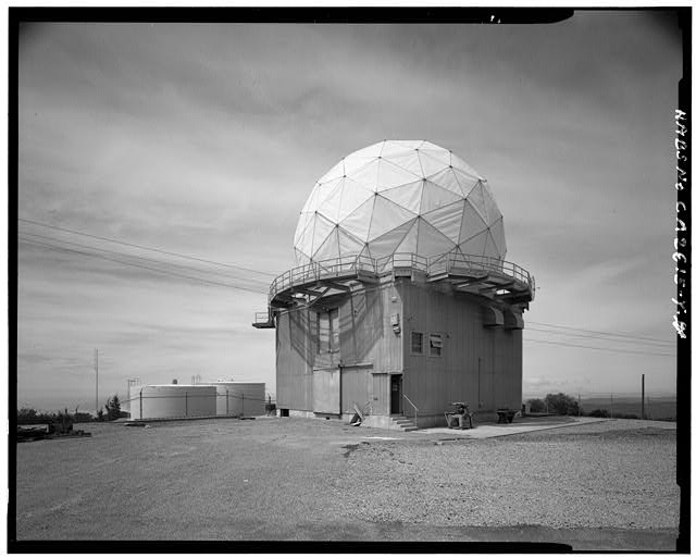 Mill Valley Early Warning Radar Station EXTERIOR VIEW OF RADOME, STRUCTURE 411, LOOKING SOUTHWEST.