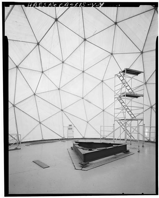Mill Valley Early Warning Radar Station INTERIOR OF RADOME 411 WITH HEIGHT FINDER RADAR NOW REMOVED, LOOKING SOUTH.