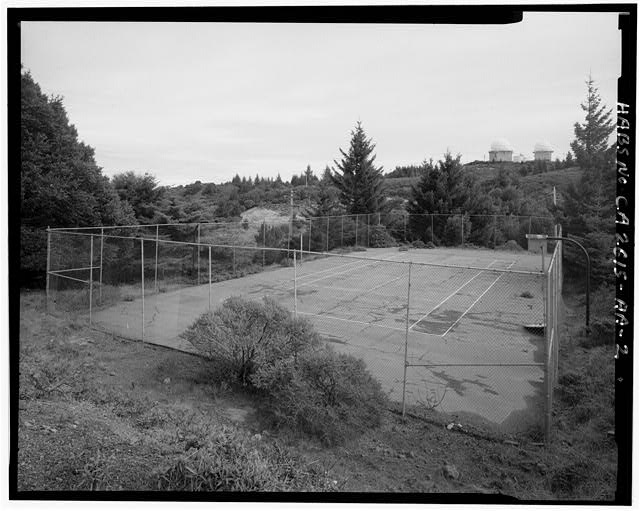 Mill Valley Early Warning Radar Station VIEW OF THE TENNIS COURTS, BUILDING 436, LOOKING EAST.